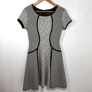 City Triangles Fit and Flare Chevron Dress Size 7